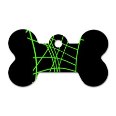 Green neon abstraction Dog Tag Bone (One Side)
