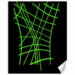 Green neon abstraction Canvas 11  x 14