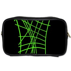 Green neon abstraction Toiletries Bags