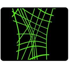 Green neon abstraction Fleece Blanket (Medium)