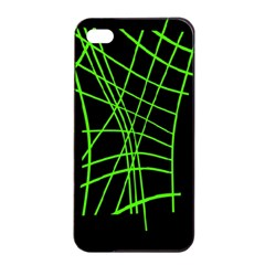 Green neon abstraction Apple iPhone 4/4s Seamless Case (Black)