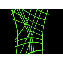 Green neon abstraction Birthday Cake 3D Greeting Card (7x5)