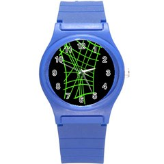 Green neon abstraction Round Plastic Sport Watch (S)