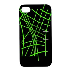 Green neon abstraction Apple iPhone 4/4S Hardshell Case with Stand