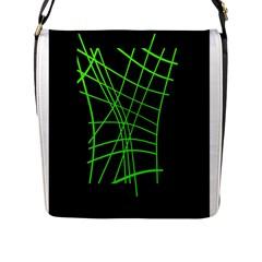 Green neon abstraction Flap Messenger Bag (L)