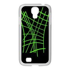 Green neon abstraction Samsung GALAXY S4 I9500/ I9505 Case (White)