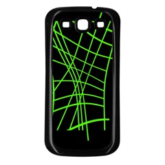 Green neon abstraction Samsung Galaxy S3 Back Case (Black)