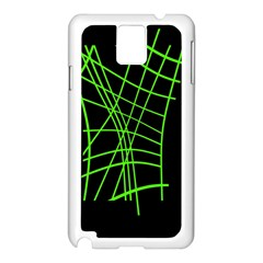 Green neon abstraction Samsung Galaxy Note 3 N9005 Case (White)