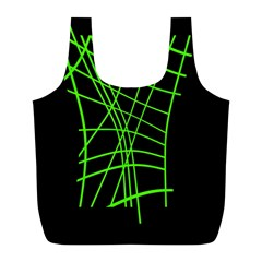 Green neon abstraction Full Print Recycle Bags (L)