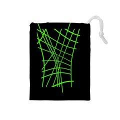 Green neon abstraction Drawstring Pouches (Medium)