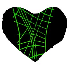 Green neon abstraction Large 19  Premium Flano Heart Shape Cushions