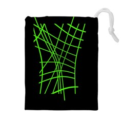 Green neon abstraction Drawstring Pouches (Extra Large)