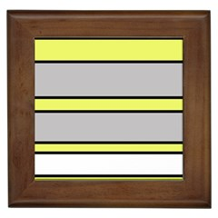 Yellow and gray lines Framed Tiles