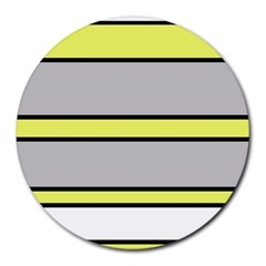 Yellow and gray lines Round Mousepads