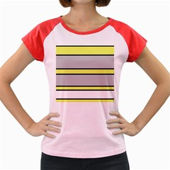 Yellow and gray lines Women s Cap Sleeve T-Shirt