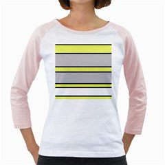 Yellow and gray lines Girly Raglans