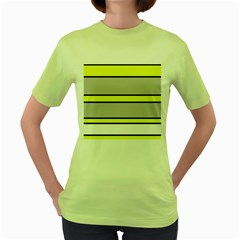 Yellow and gray lines Women s Green T-Shirt