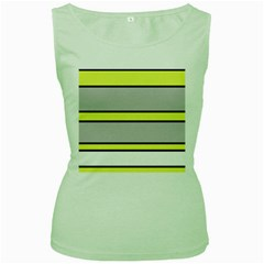 Yellow and gray lines Women s Green Tank Top
