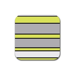 Yellow and gray lines Rubber Square Coaster (4 pack)