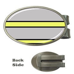 Yellow and gray lines Money Clips (Oval)