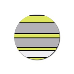 Yellow and gray lines Rubber Coaster (Round)