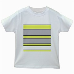 Yellow and gray lines Kids White T-Shirts