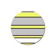 Yellow and gray lines Magnet 3  (Round)