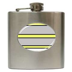 Yellow and gray lines Hip Flask (6 oz)