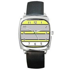 Yellow and gray lines Square Metal Watch