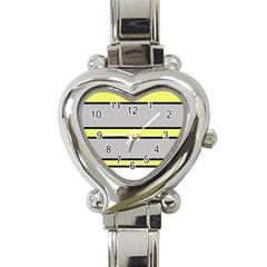 Yellow and gray lines Heart Italian Charm Watch