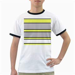 Yellow and gray lines Ringer T-Shirts