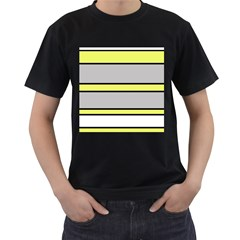 Yellow and gray lines Men s T-Shirt (Black) (Two Sided)