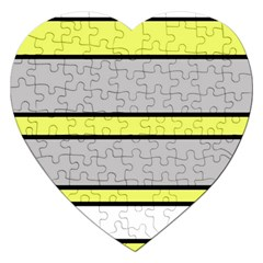 Yellow and gray lines Jigsaw Puzzle (Heart)