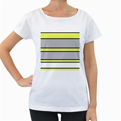 Yellow and gray lines Women s Loose-Fit T-Shirt (White)