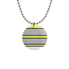 Yellow and gray lines Button Necklaces