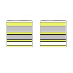 Yellow and gray lines Cufflinks (Square)