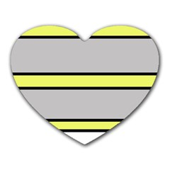 Yellow and gray lines Heart Mousepads