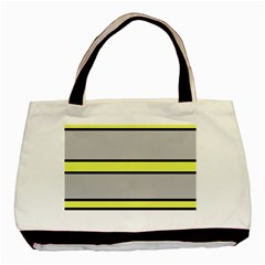 Yellow and gray lines Basic Tote Bag (Two Sides)