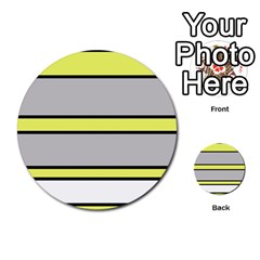 Yellow and gray lines Multi-purpose Cards (Round)