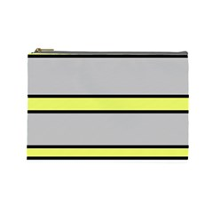 Yellow and gray lines Cosmetic Bag (Large)