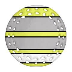 Yellow and gray lines Round Filigree Ornament (2Side)