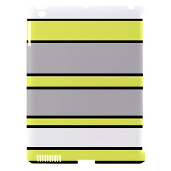 Yellow and gray lines Apple iPad 3/4 Hardshell Case (Compatible with Smart Cover)