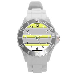 Yellow and gray lines Round Plastic Sport Watch (L)