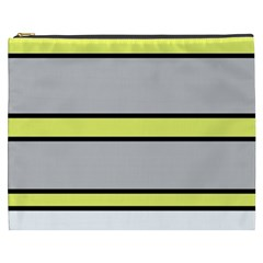 Yellow and gray lines Cosmetic Bag (XXXL)