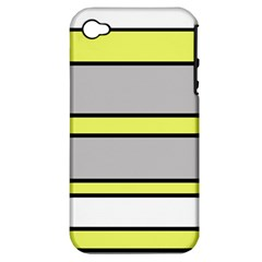 Yellow and gray lines Apple iPhone 4/4S Hardshell Case (PC+Silicone)