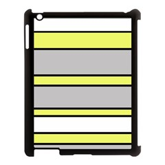 Yellow and gray lines Apple iPad 3/4 Case (Black)