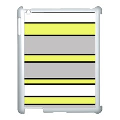 Yellow and gray lines Apple iPad 3/4 Case (White)