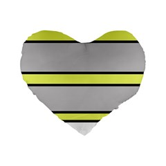 Yellow and gray lines Standard 16  Premium Heart Shape Cushions
