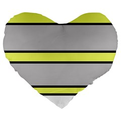 Yellow and gray lines Large 19  Premium Heart Shape Cushions