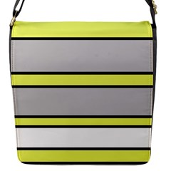 Yellow and gray lines Flap Messenger Bag (S)